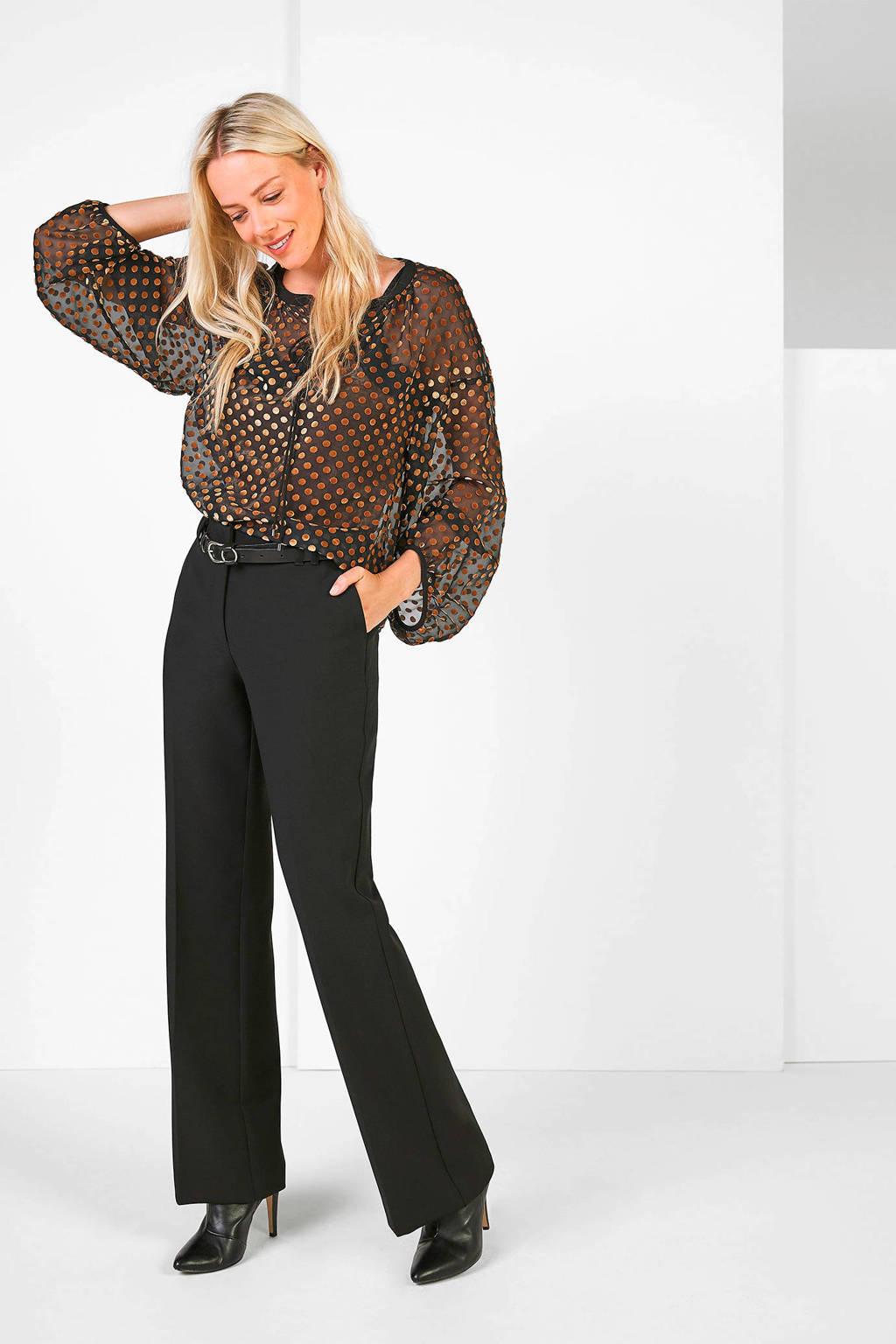 Expresso straight fit broek zwart, Zwart