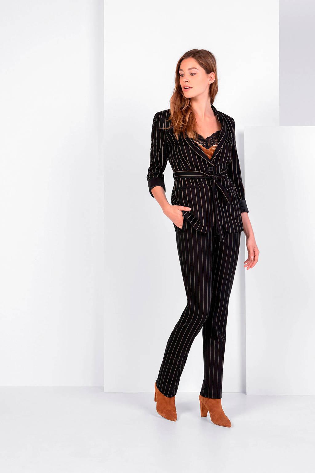Expresso straight fit broek met krijtstreep zwart, Zwart