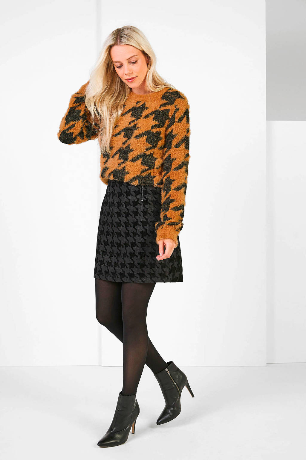 Expresso trui met pied-de-poule camel/zwart, Camel/zwart
