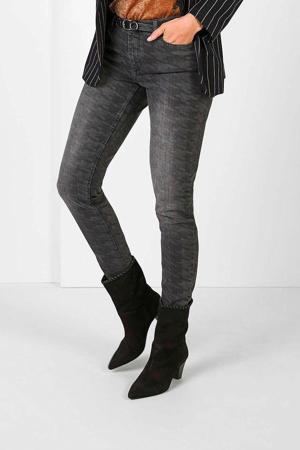 skinny jeans met pied-de-poule donkergrijs