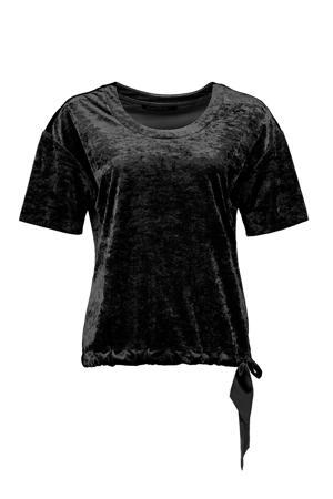 fluwelen T-shirt zwart