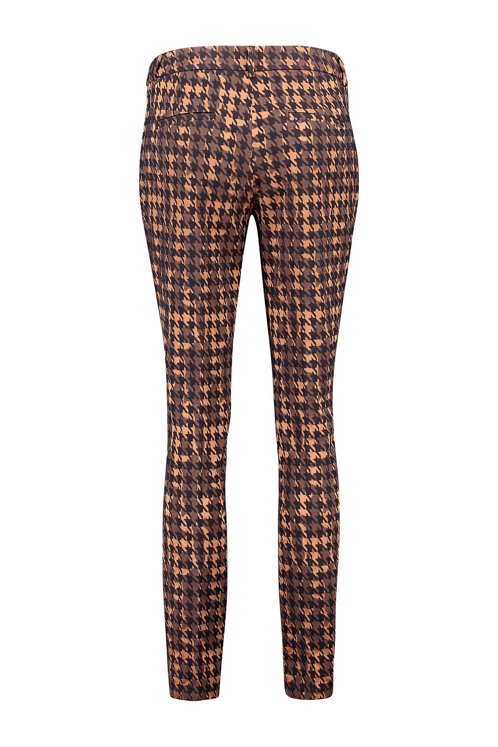 Expresso skinny broek met pied de poule bruin multi   wehkamp