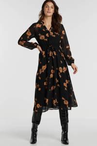 MSCH Copenhagen jurk met all over print zwart/goud, Zwart/goud
