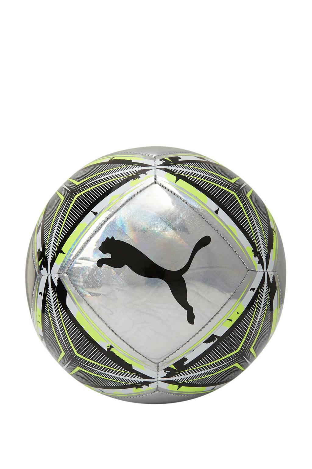 Puma   voetbal zilver/limegroen maat 5, Zilver/limegroen