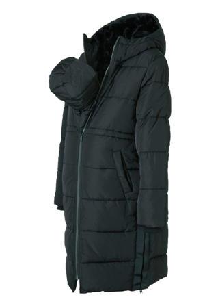 Positiemode gewatteerde jas zwart