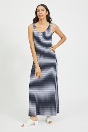 gestreepte maxi jurk donkerblauw