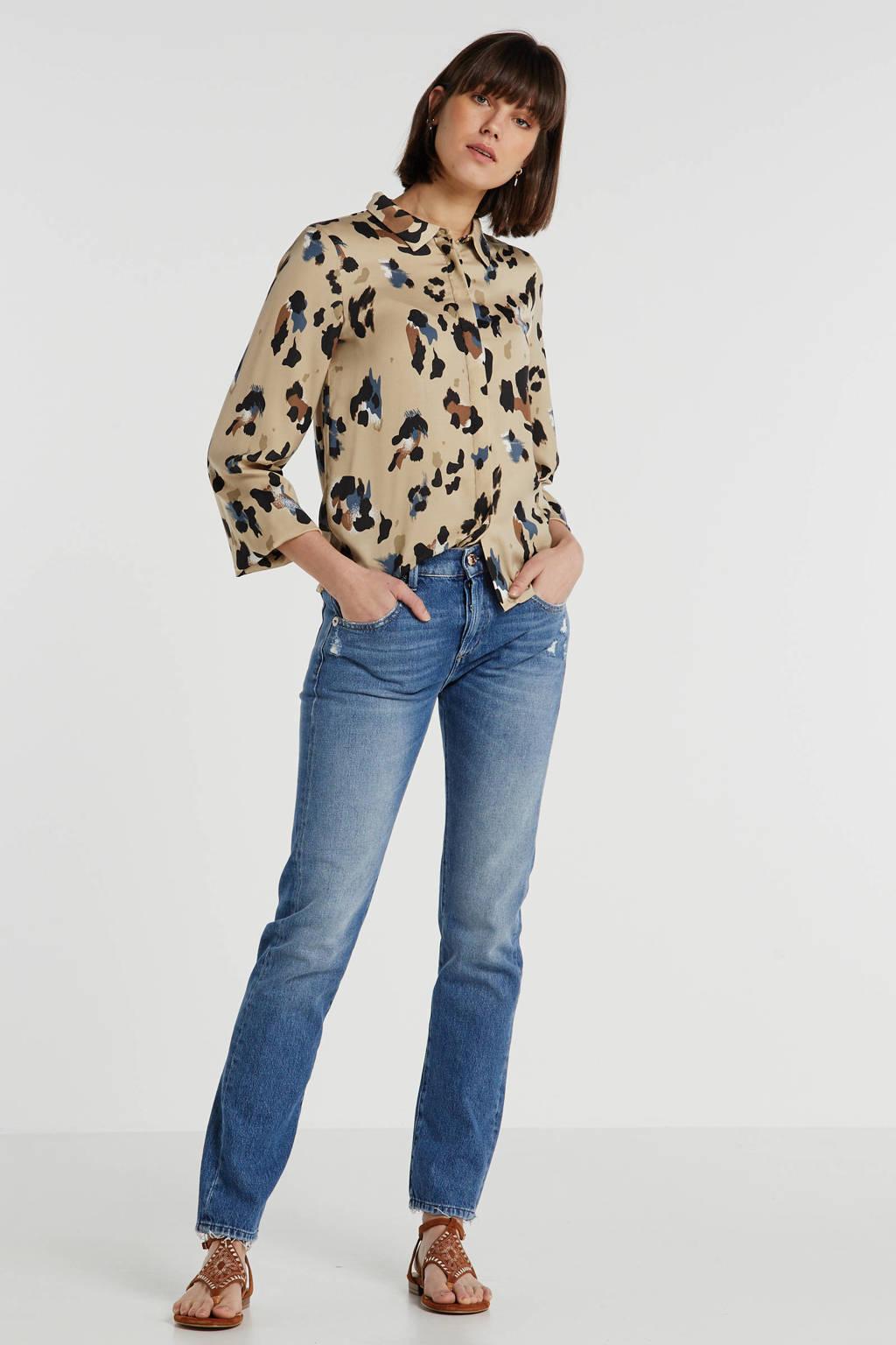 VILA blouse met all over print bruin, Bruin