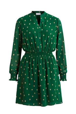 jurk met all over print groen/goud