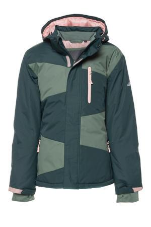 ski-jack groen/donkergroen/roze