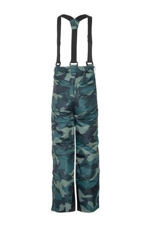 skibroek met camouflageprint groen