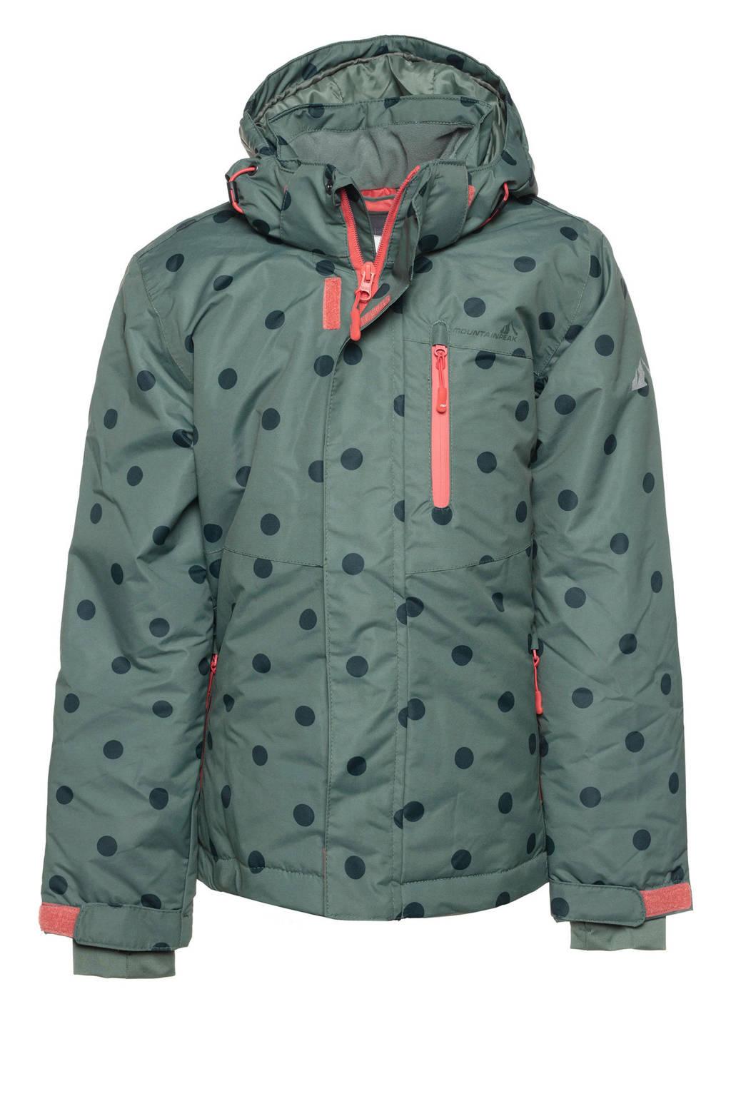Mountain Peak ski-jack me strippen groen/roze, Groen/donkergroen/roze
