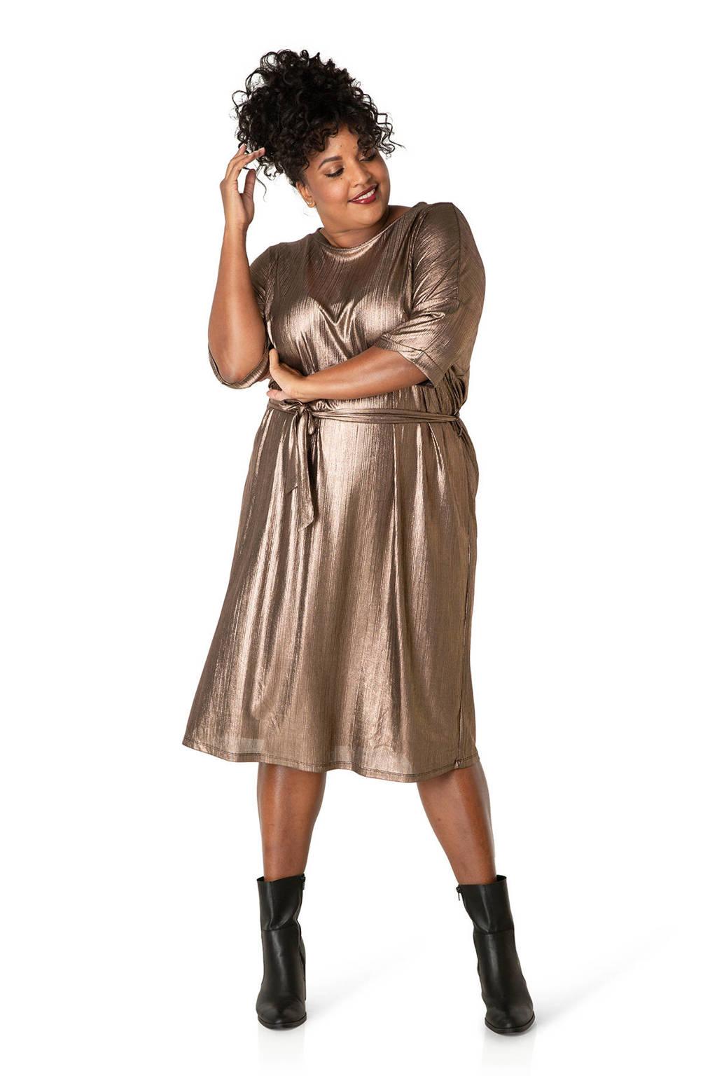 IVY BELLA jurk met ceintuur goud, Goud