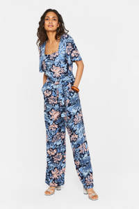 WE Fashion jumpsuit met all over print blauw, Blauw