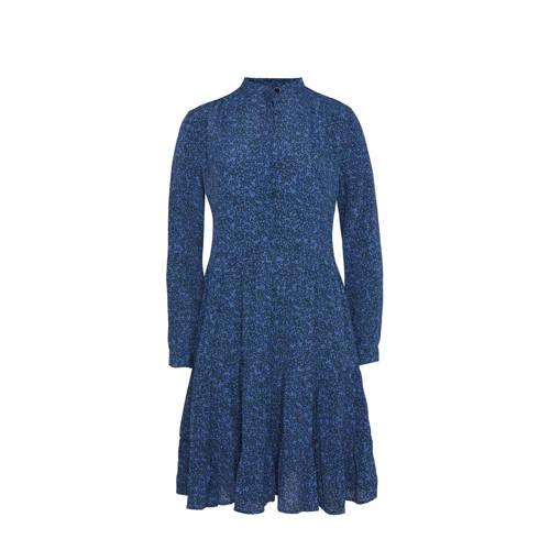 WE Fashion jurk met volant blauw