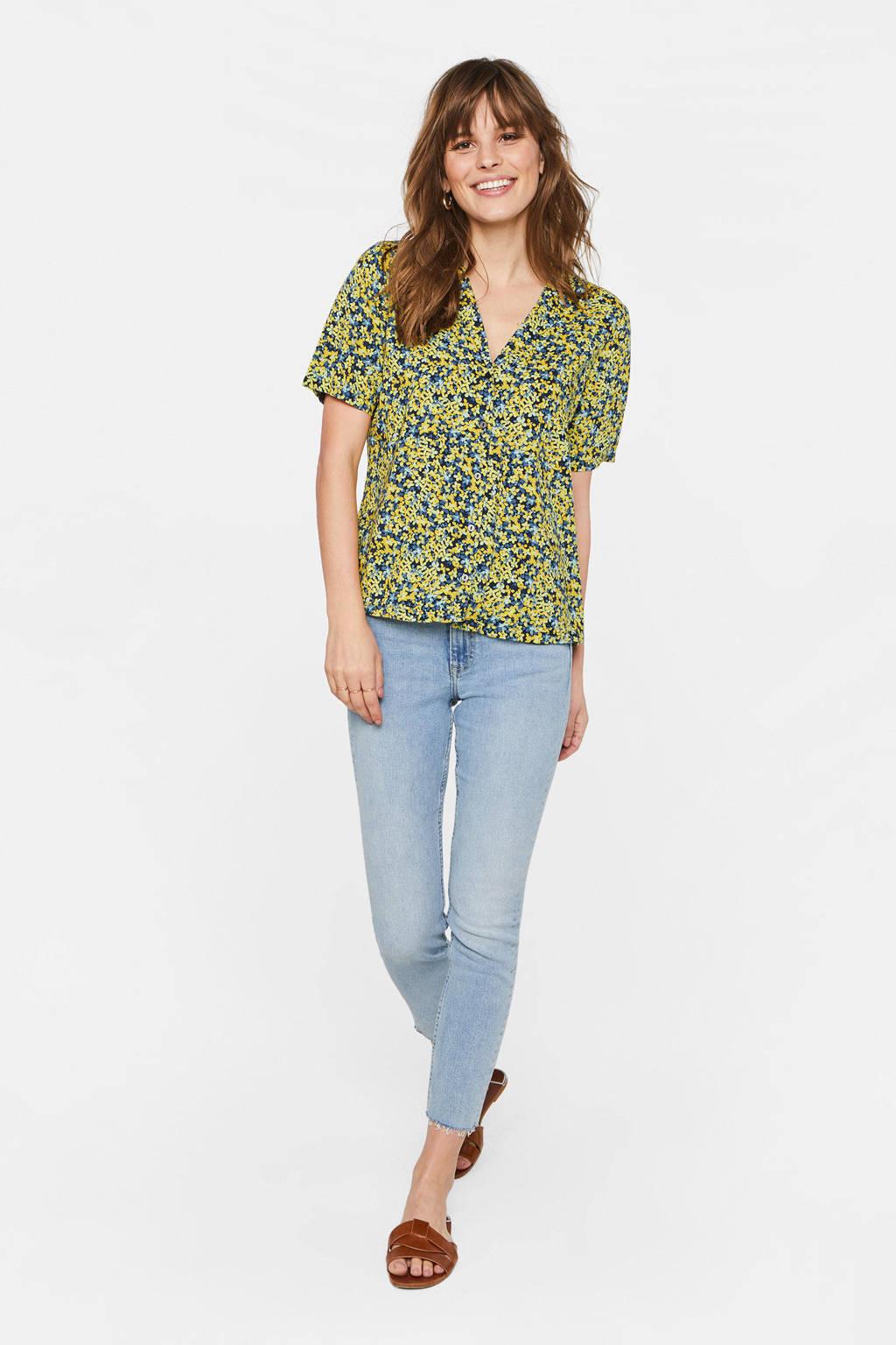 WE Fashion gebloemde blouse geel/blauw, Geel/blauw