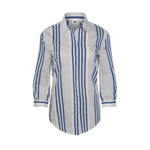 WE Fashion gestreepte blouse blauw/grijs