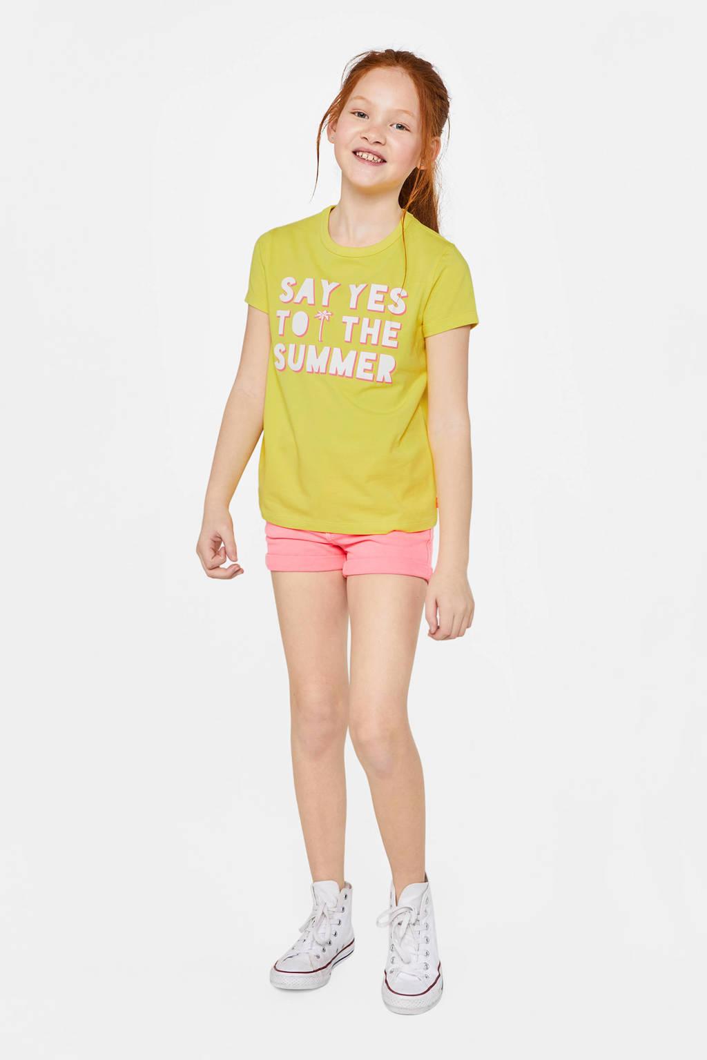 WE Fashion T-shirt met tekst en glitters geel, Geel