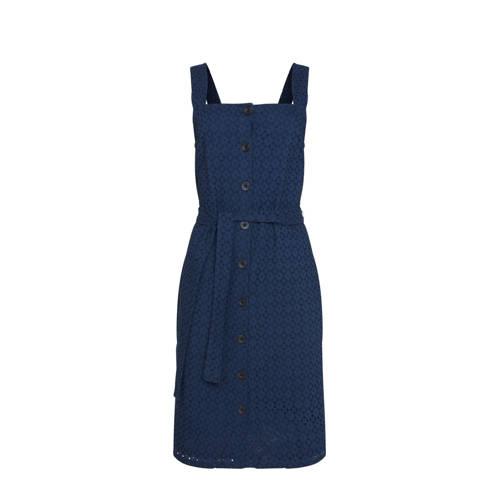 WE Fashion jurk met ceintuur donkerblauw