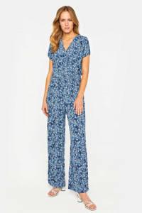 WE Fashion gebloemde jumpsuit met smockwerk blauw, Blauw