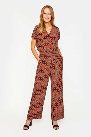 jumpsuit met all over print rood/zwart/wit
