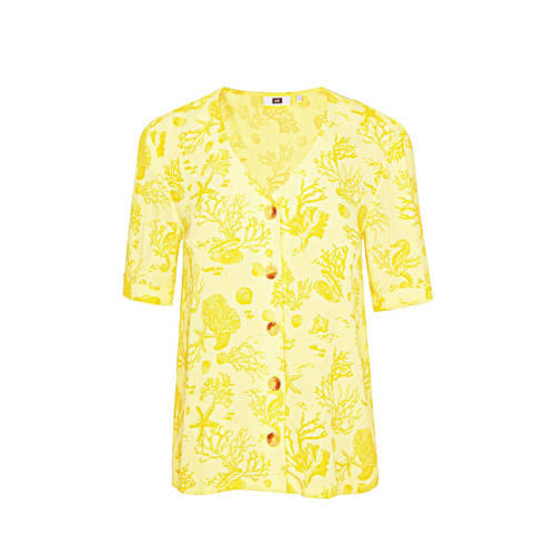 WE Fashion top met all over print geel