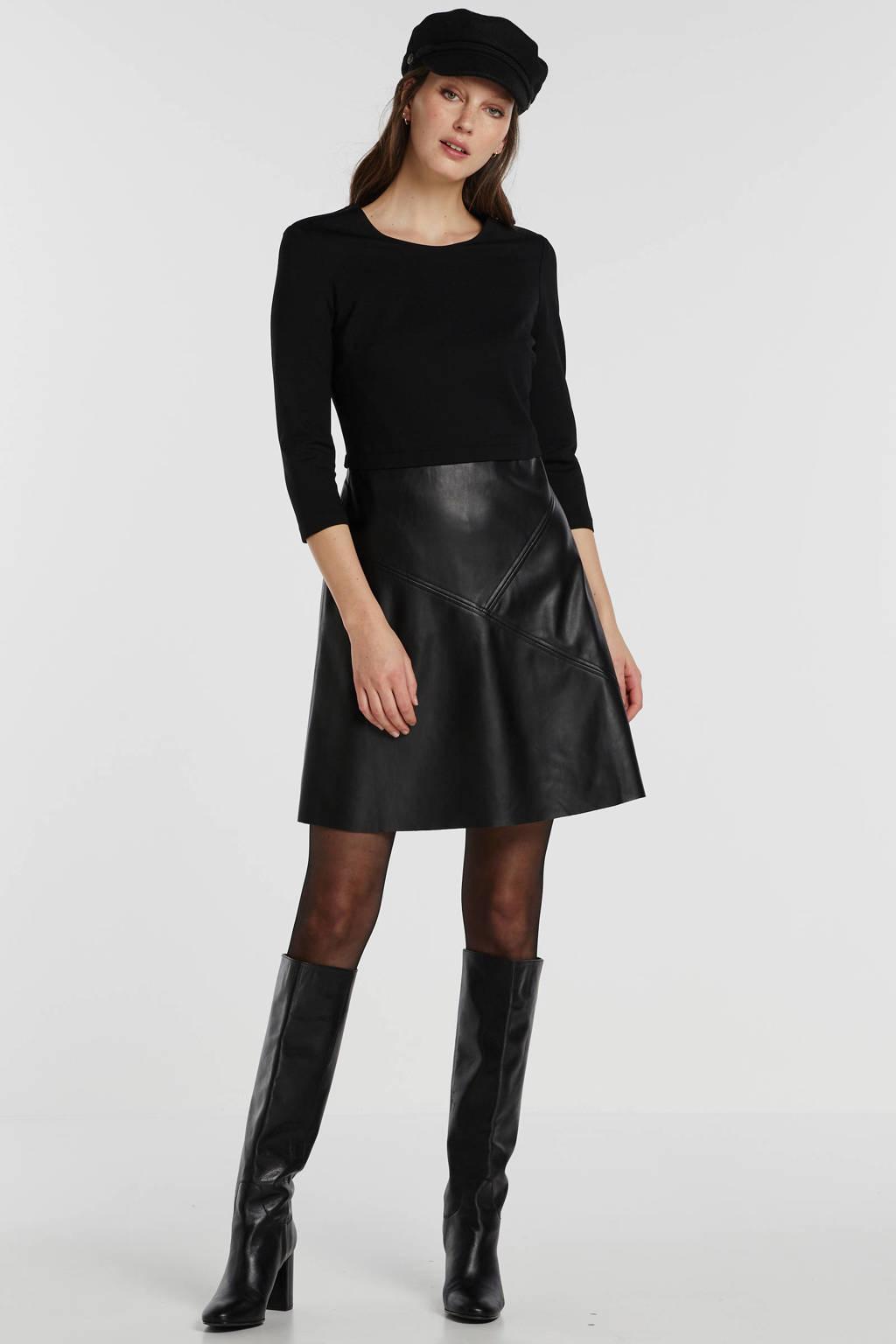 ESPRIT Women Casual imitatieleren jurk zwart, Zwart