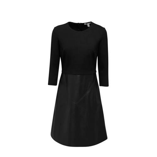ESPRIT Women Casual imitatieleren jurk zwart