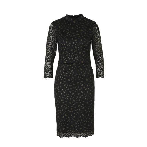 ESPRIT Women Collection jurk met all over print en kant zwart goud