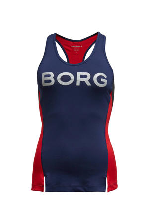 sporttop donkerblauw/rood