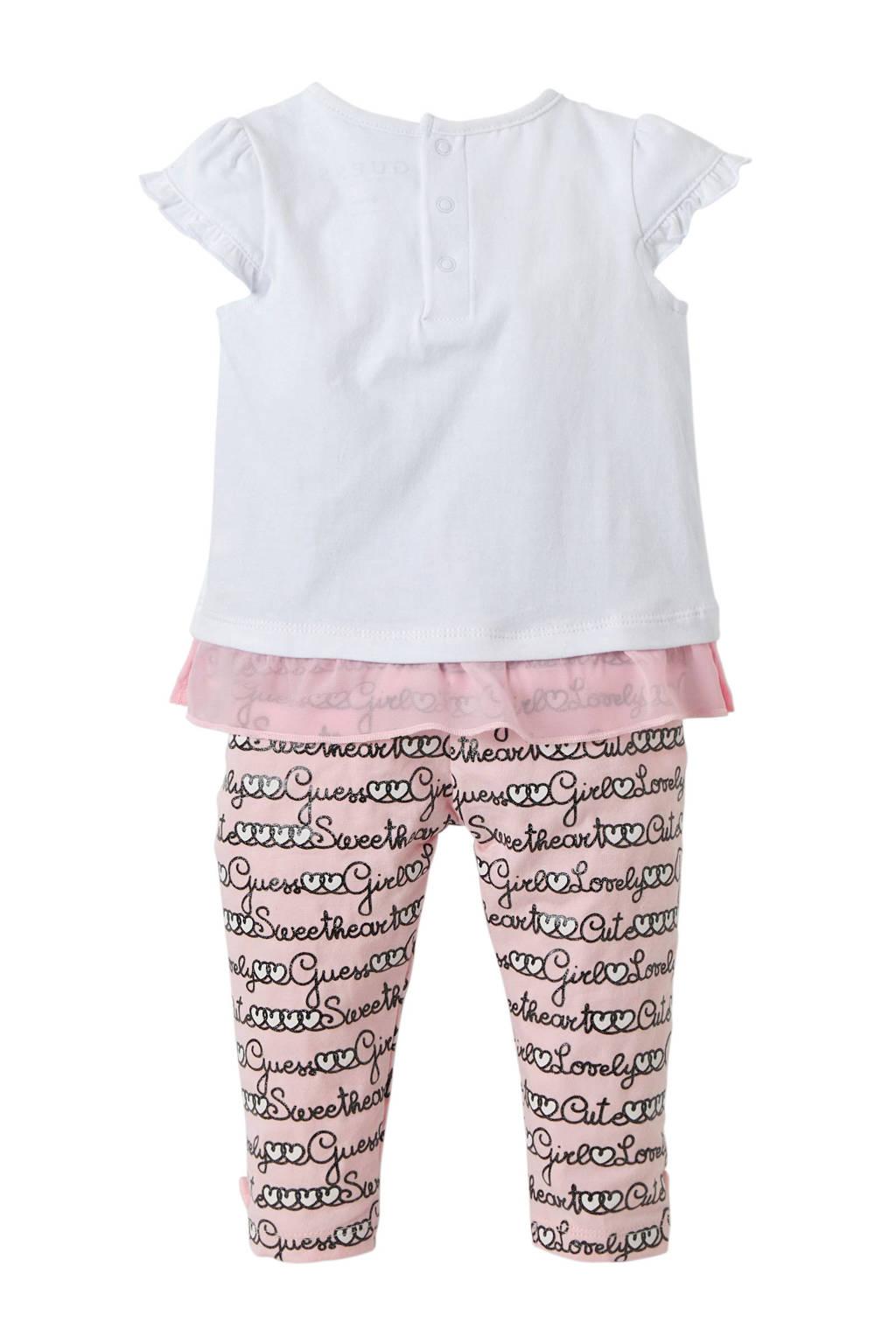 GUESS baby T-shirt met legging roze/wit, Roze/wit