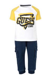 GUESS T-shirt + broek wit/geel/blauw, Wit/geel/blauw