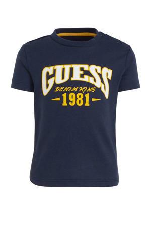 T-shirt met printopdruk donkerblauw/wit/geel