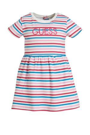gestreepte baby jurk met broekje roze/wit