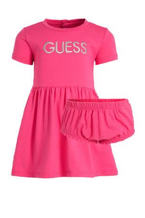 baby jurk + broekje met logo fuchsia