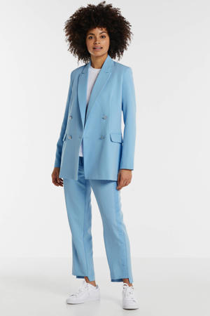 high waist straight fit pantalon Sophy met zijstreep lichtblauw