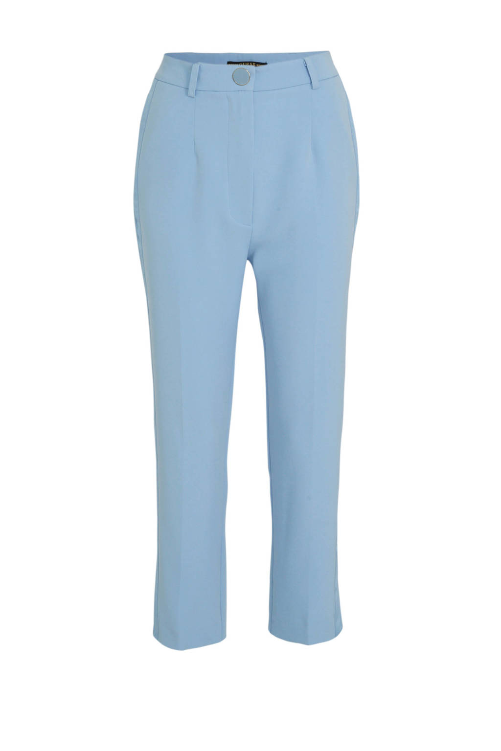 GUESS high waist straight fit pantalon Sophy met zijstreep lichtblauw, Lichtblauw