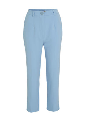 high waist straight fit pantalon Sophy met zijstreep lichtblauw