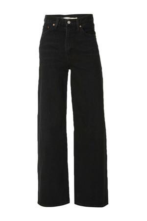 high waist loose fit jeans zwart
