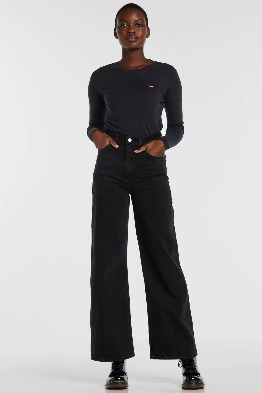 Levi's longsleeve met logo zwart, Zwart