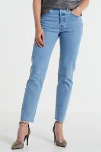 Levi's 501 cropped high waist mom jeans blauw, Blauw