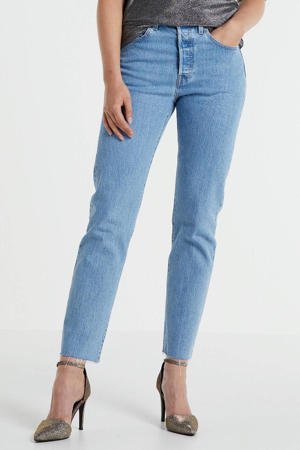 501 cropped high waist mom jeans blauw