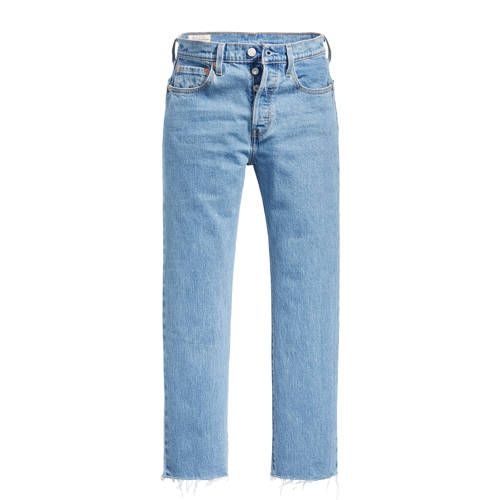 Levi's 501 crop cropped high waist mom jeans blauw