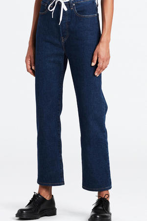 high waist cropped mom ribcage jeans dark denim