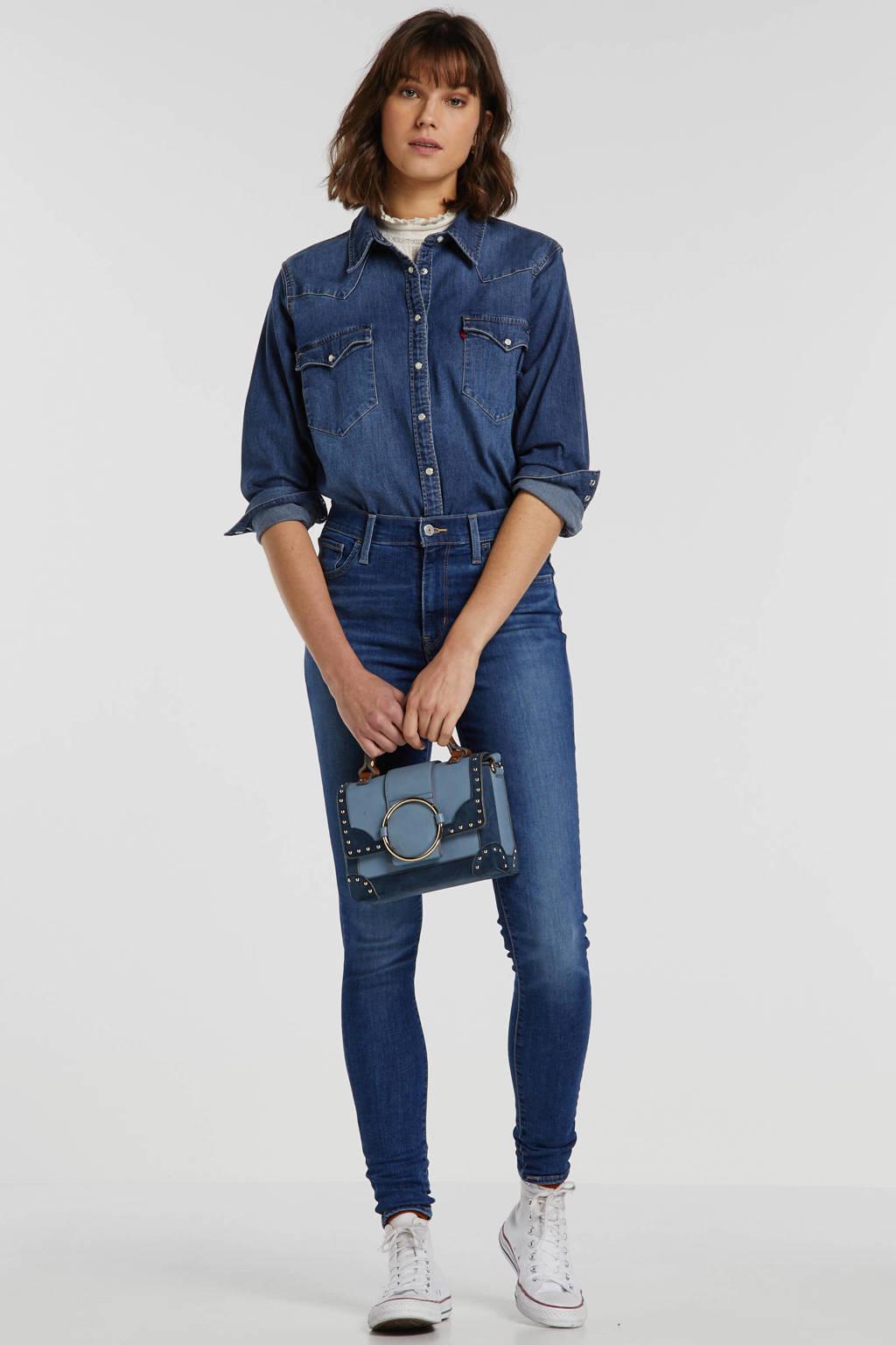 Levi's 720 high waist super skinny jeans denim blauw, Denim blauw