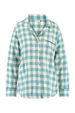 geruite pyjamatop lichtblauw/wit