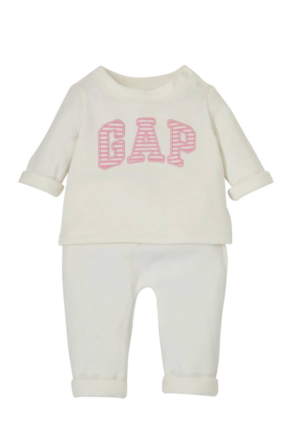 GAP broek + sweater wit/roze, Wit/roze