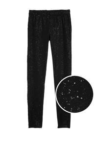GAP legging met glitterdessin zwart, Zwart/zilver