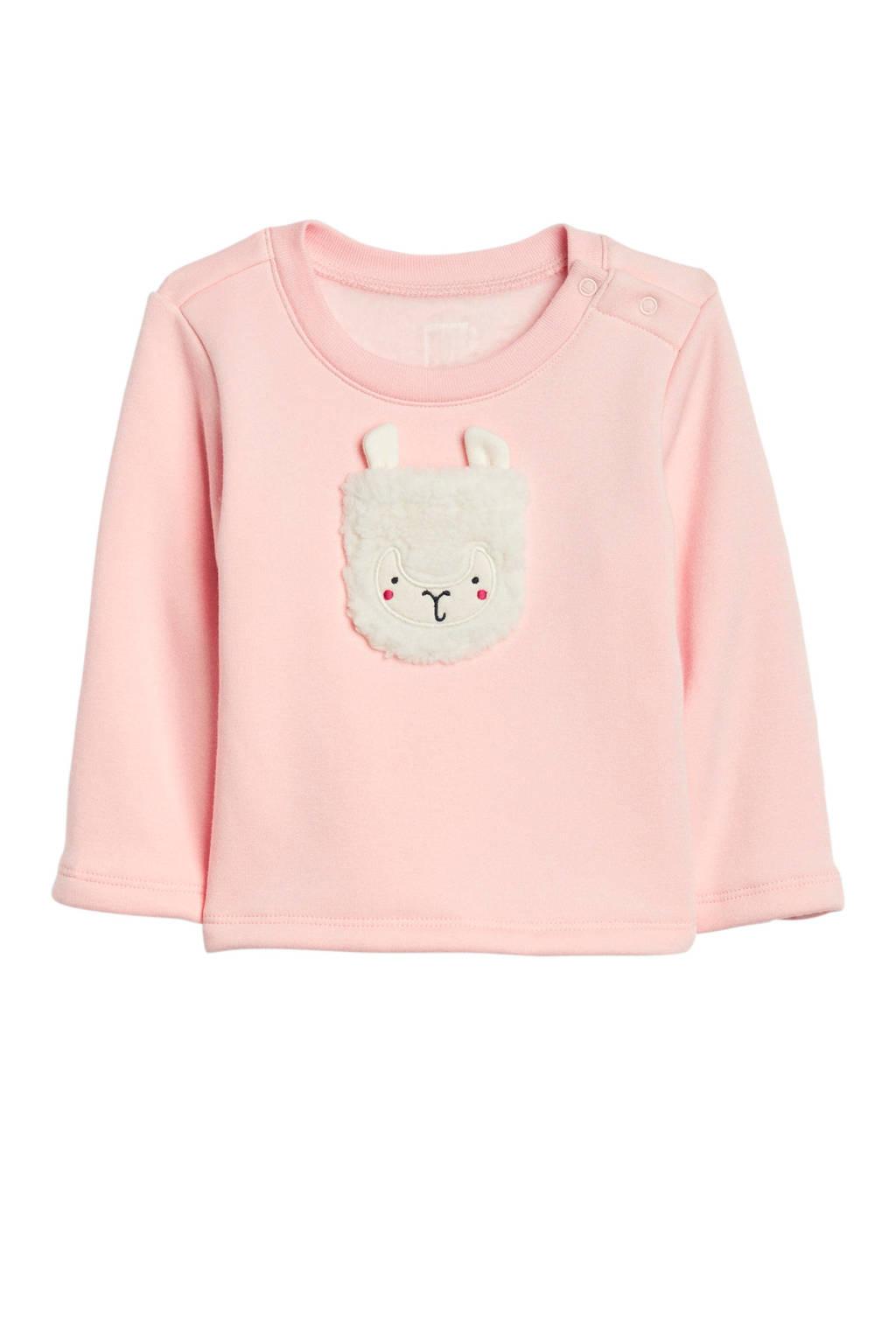 GAP baby sweater met printopdruk en 3D applicatie lichtroze, Lichtroze