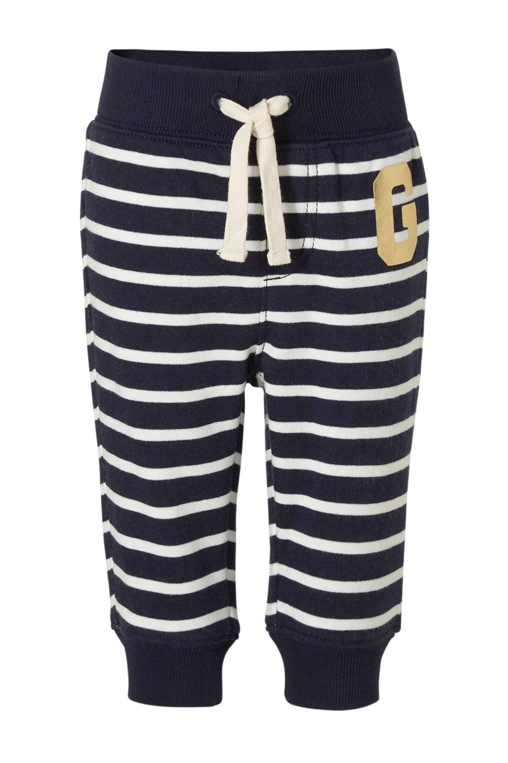 GAP baby gestreepte skinny broek donkerblauw/wit/goud