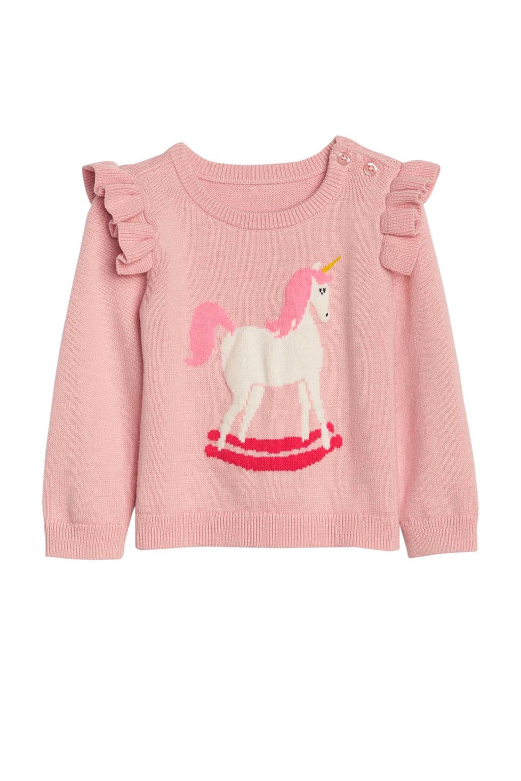 GAP fijn gebreide trui met eenhoorn roze, Roze